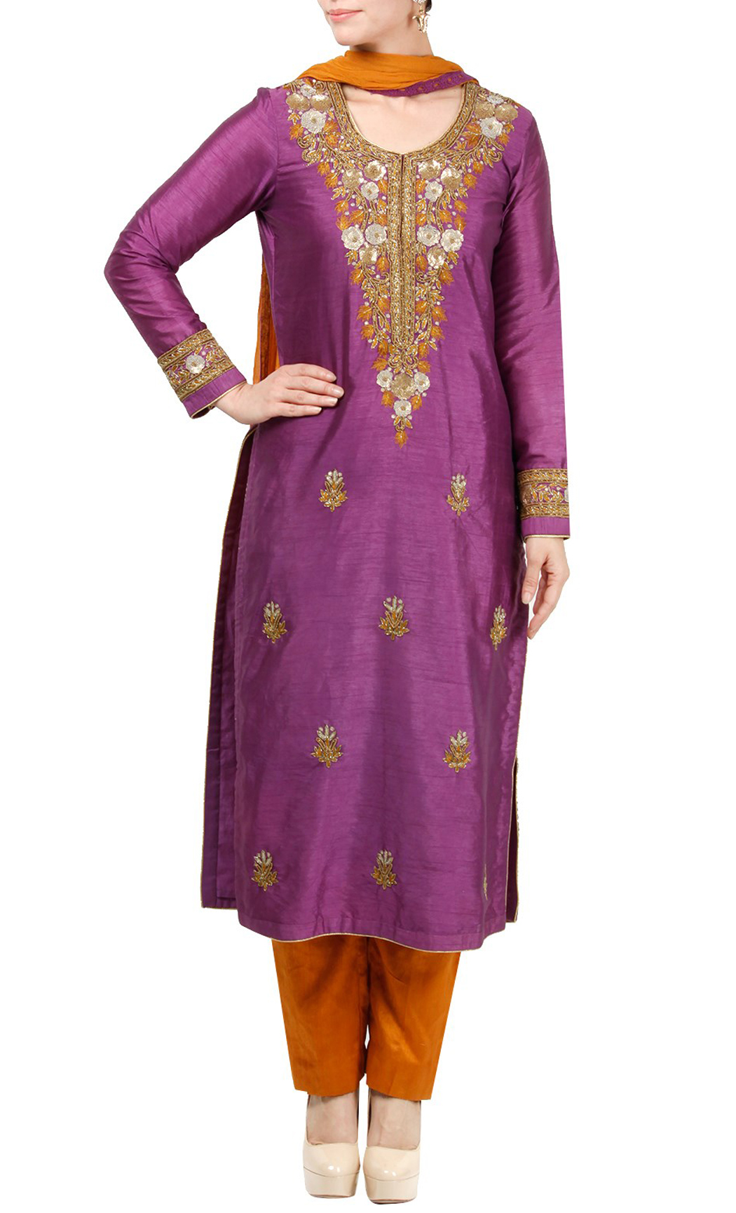 Purple and Orange Embroidered Salwar Kameez Kurta Set - Buy Online