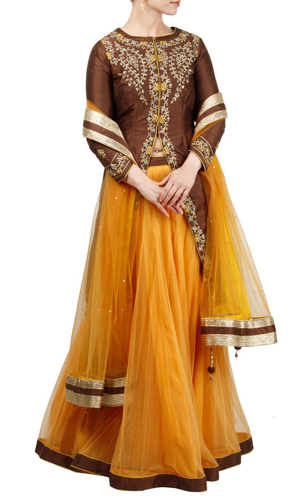 Yellow Lehenga and Jacket Style Short Kurta Set - Buy Online