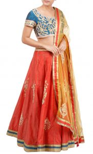 Tomato Red Lehenga with a Blue Embroidered Blouse - Buy Online
