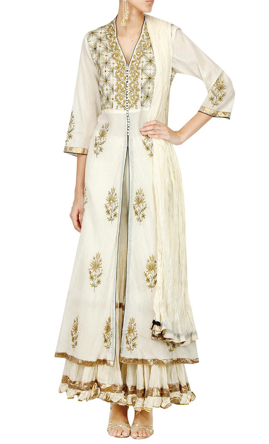 White Jacket Style Kurta and Sharara Set - Buy Online