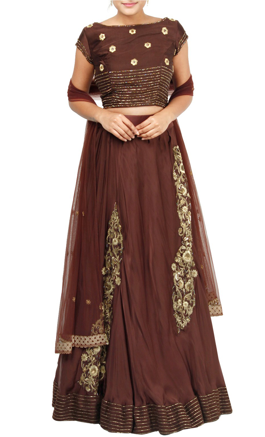 Brown Hand Embroidered Lehenga and Blouse Set - Buy Online