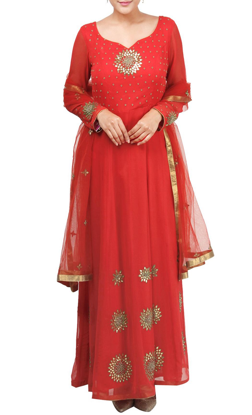 Red Embroidered Floor Length Kurta Set - Buy Online