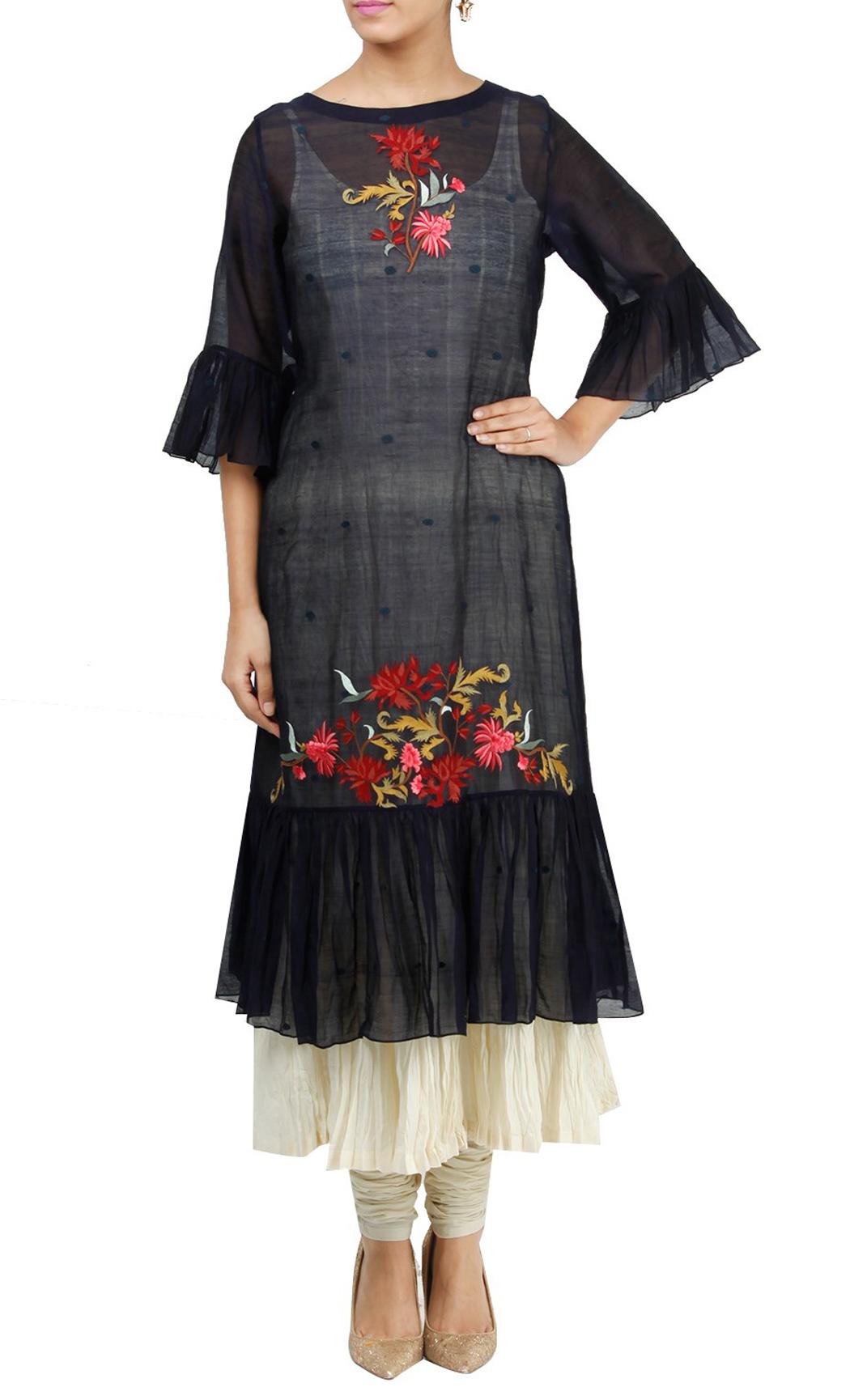 Black Silk Double Layered Kurta and Churidar - Buy Online