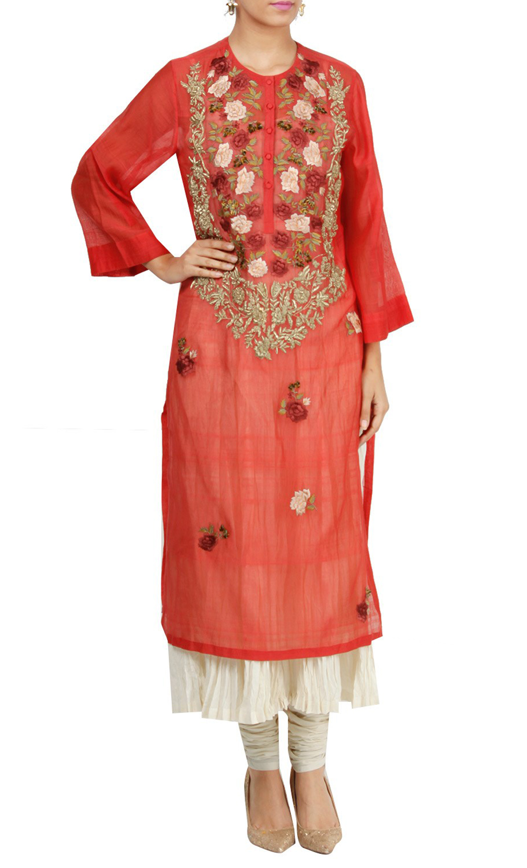 Red and White Silk Double Layered Kurta and Churidar - Buy Online
