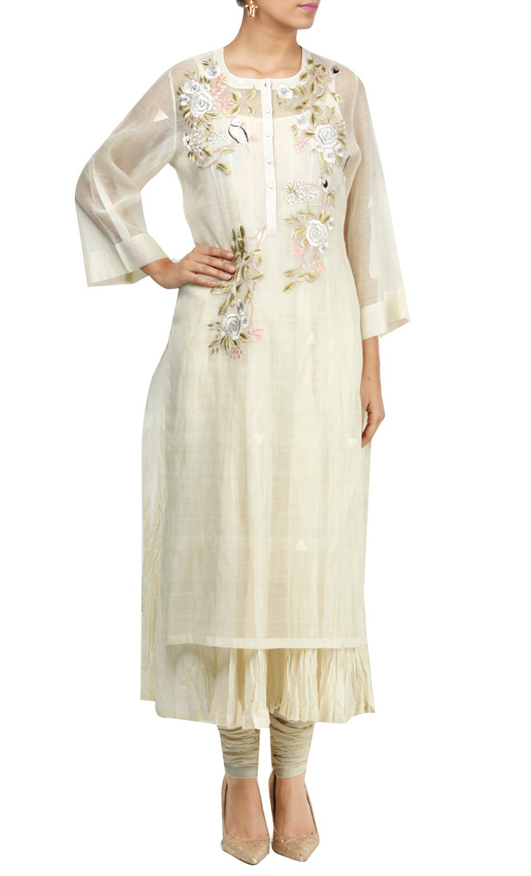White Silk Embroidered Kurta Set - Buy Online