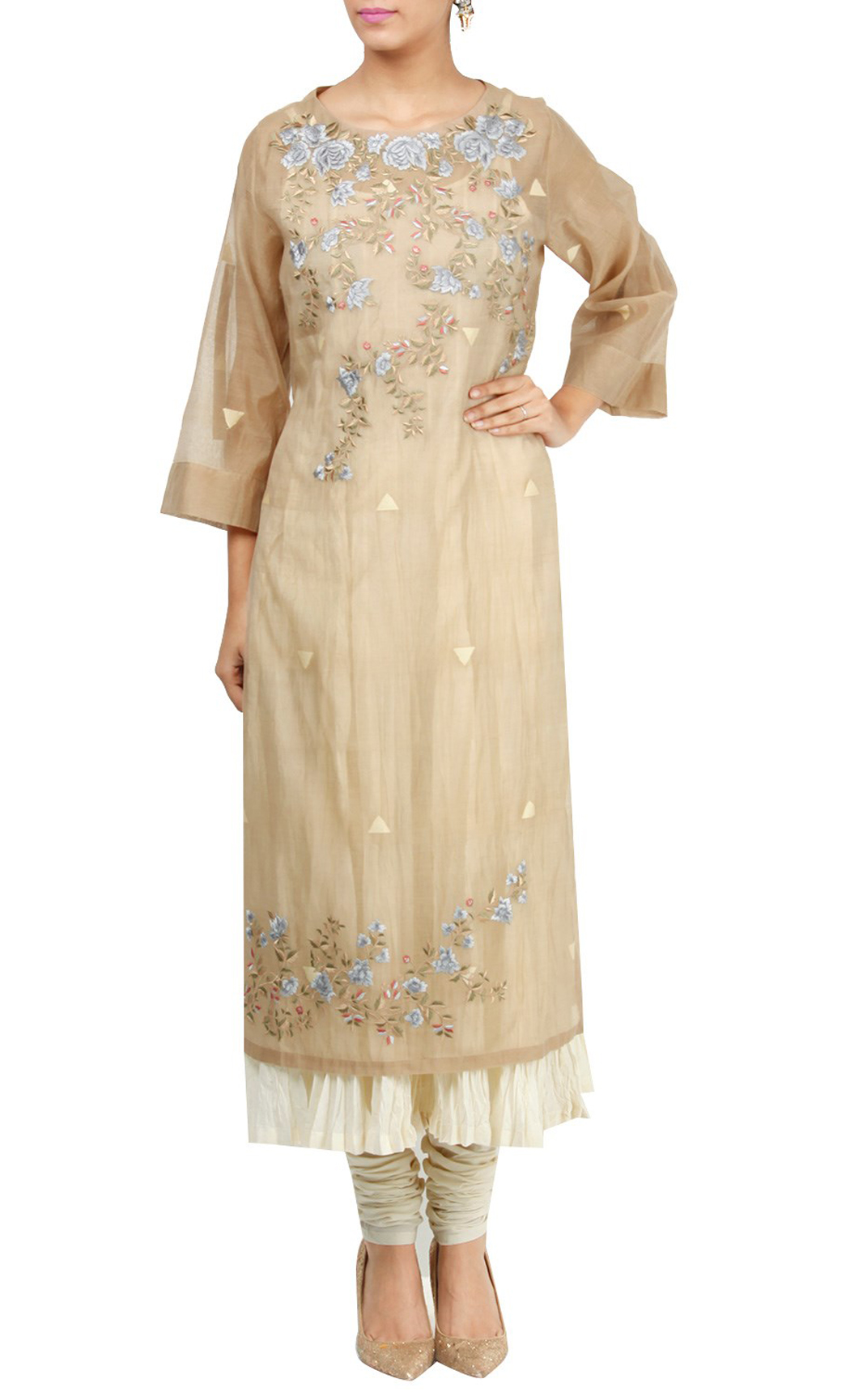 Beige and White Double Layered Silk Embroidered Kurta Set - Buy Online