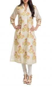 Cream Texturized Tunic with Pink Block Prints - Shop Online