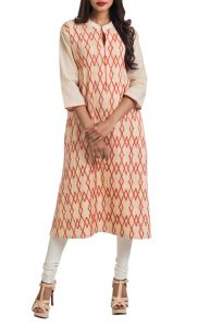 Beige and Coral Geometric Appliqued Pintuck Tunic - Shop Online