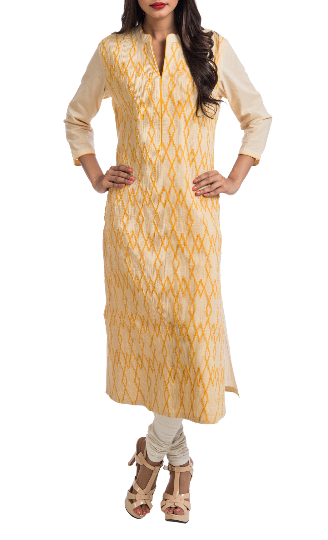 Beige and Mango Geometric Appliqued Pintuck Tunic - Shop Now
