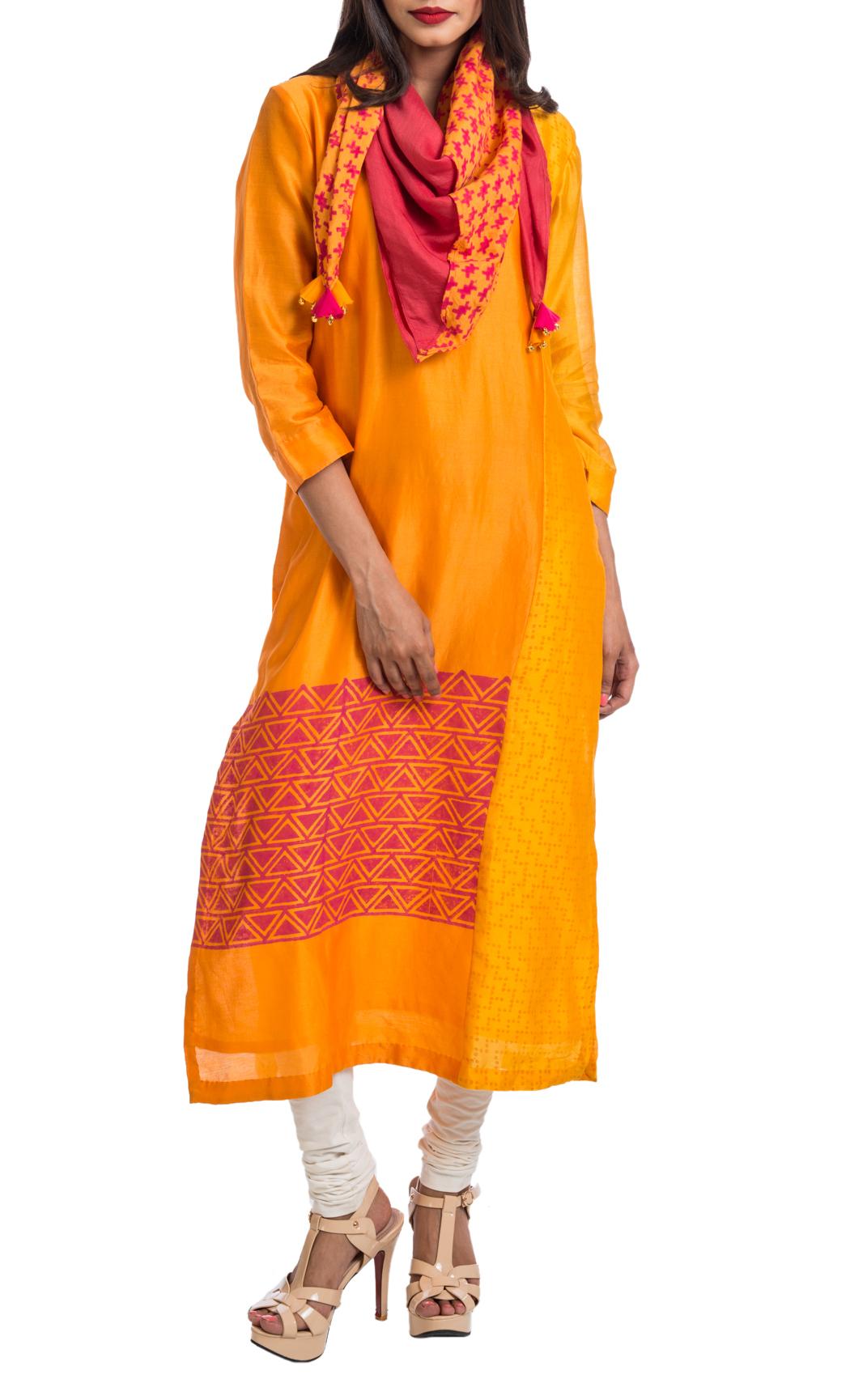 Mango and Orange Textured Panel Tunic - Shop Online