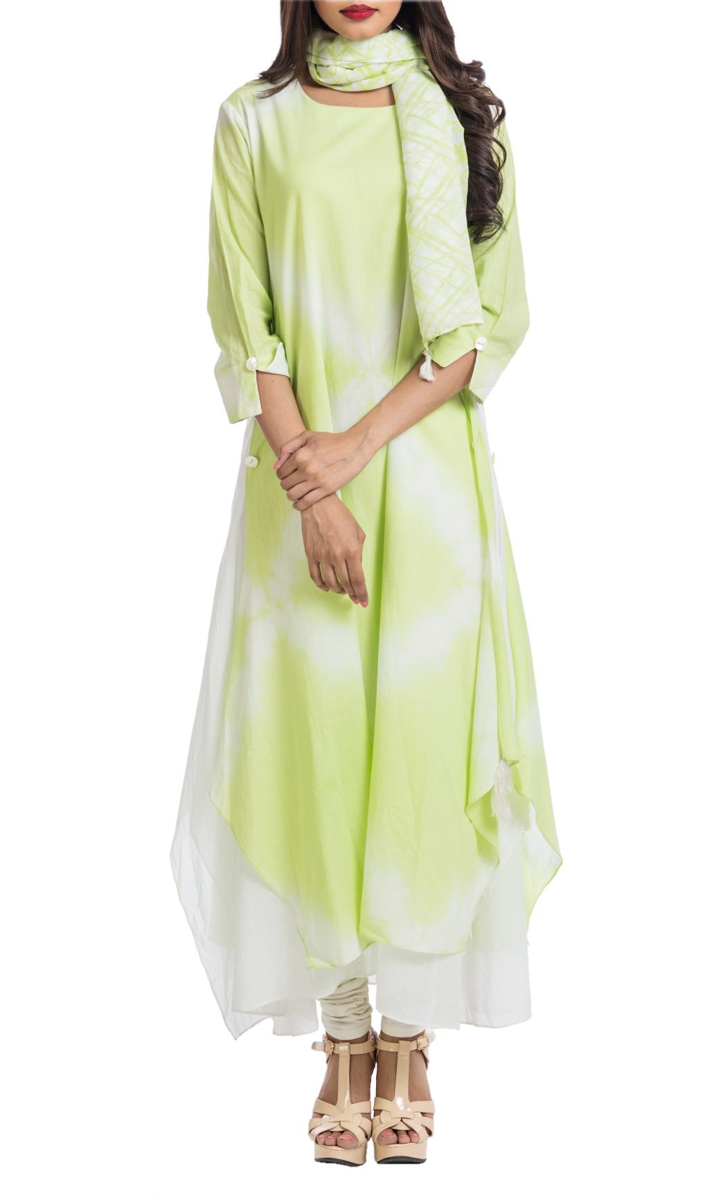 Green Shibori Asymmetrical Tunic - Shop Online