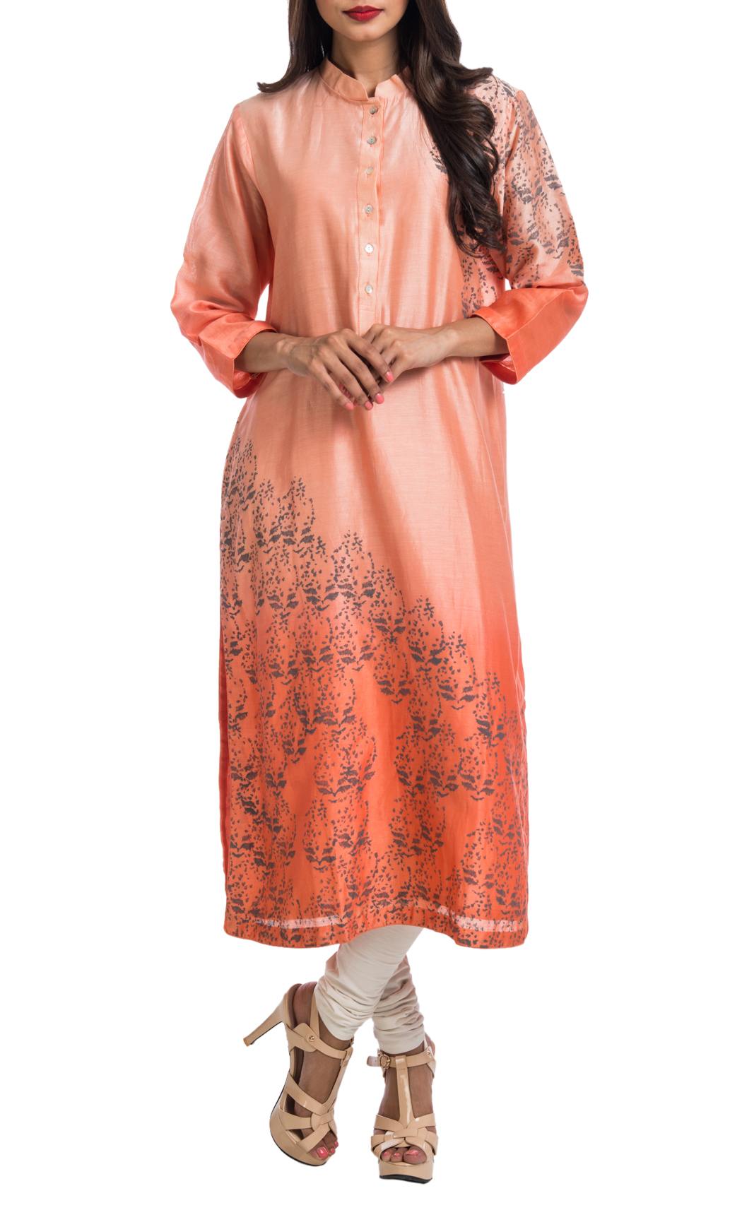Coral Ombre Block Printed Tunic Dress