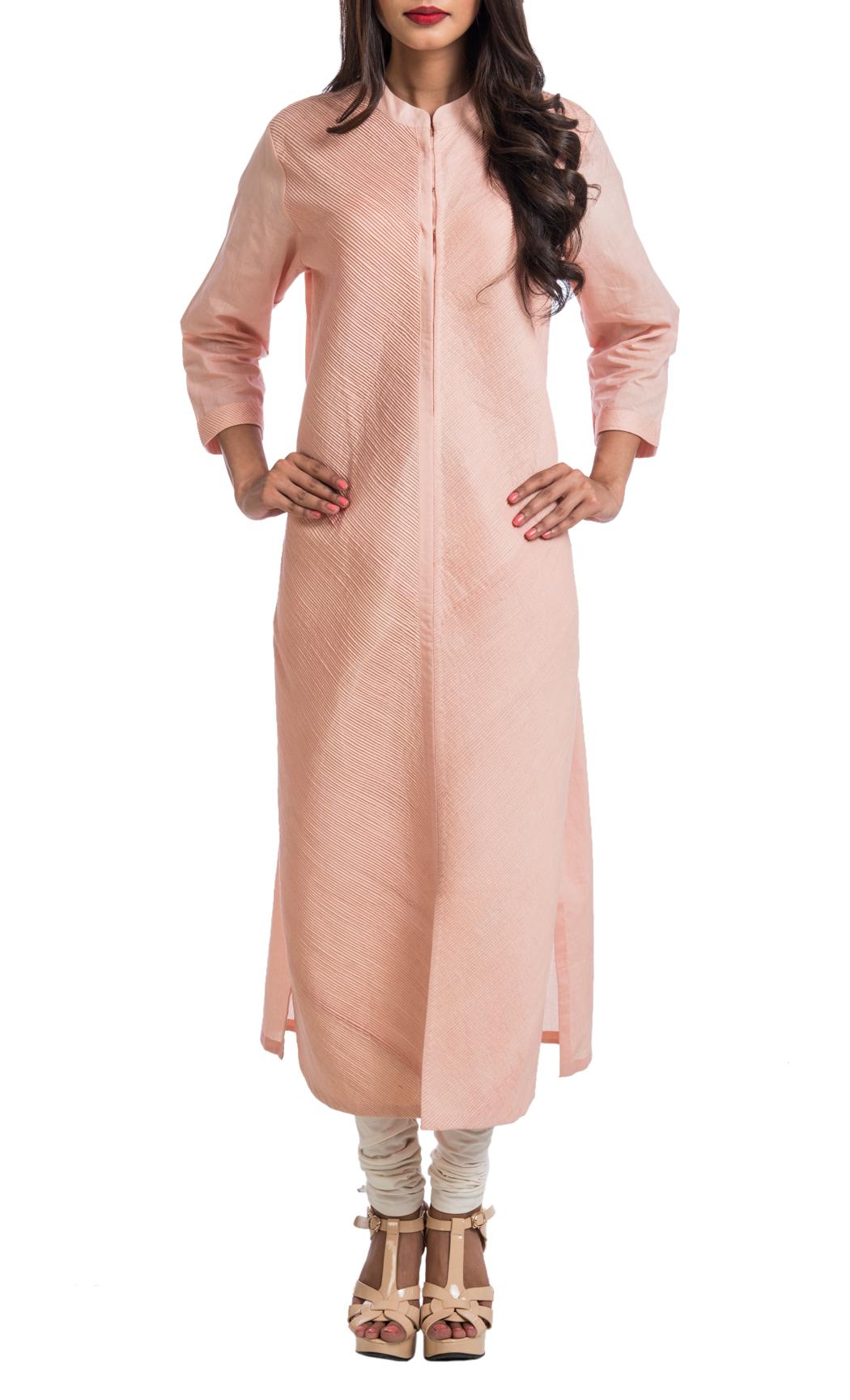 Dusky Pink Fine Pintuck Tunic - Shop Online