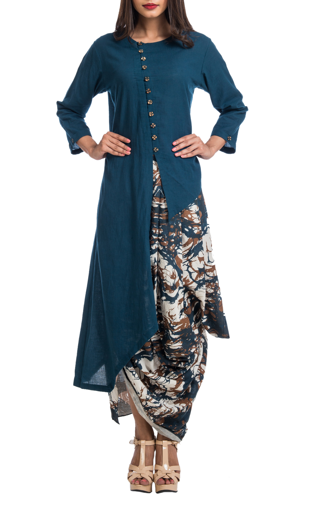 Teal Asymmetrical Shirt and Cream Printed Draped Dhoti Skirt - Shop Online