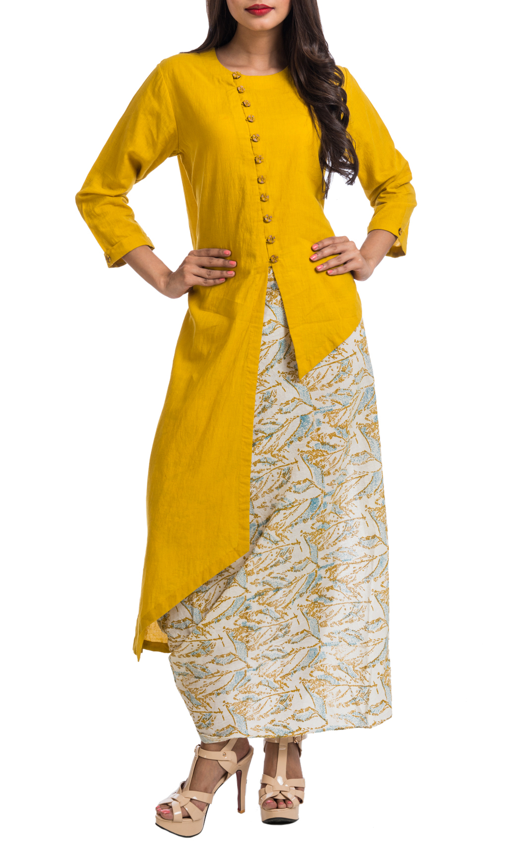 Mustard Asymmetrical Shirt and Printed Draped Dhoti Skirt - Shop Online
