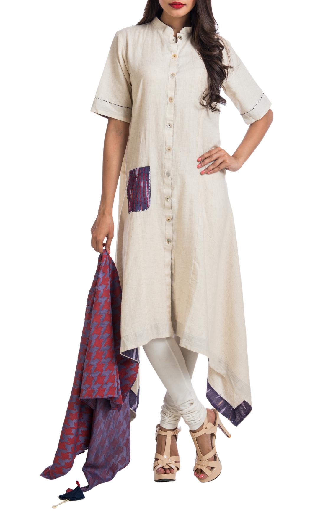 Cream Asymmetrical Shirt Dress - Shop Online