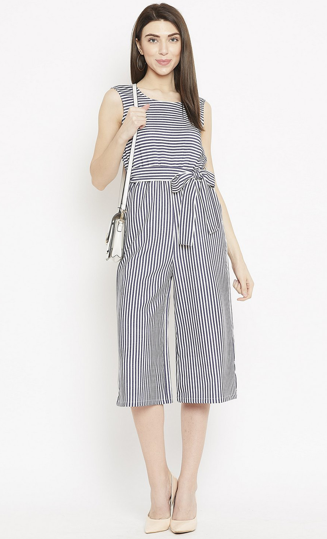 Blue and White Miss Sunshine Striped Culottes. Buy Online