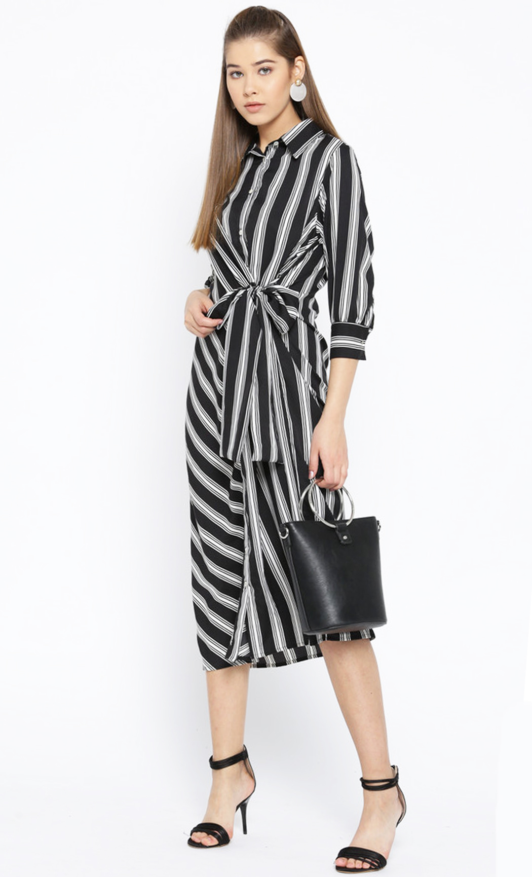 Monochrome Wonder Woman Striped Tie Dress. Buy Online