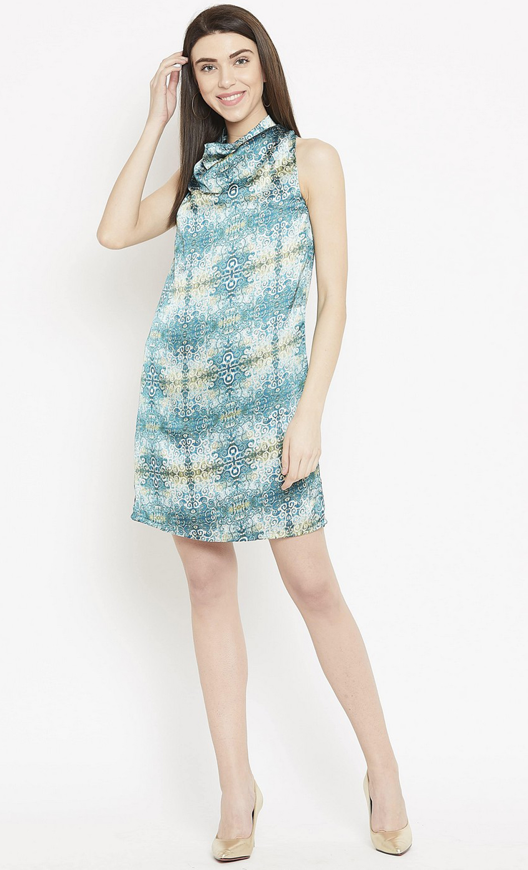 Blue Printed Cowl Dress. Buy Online