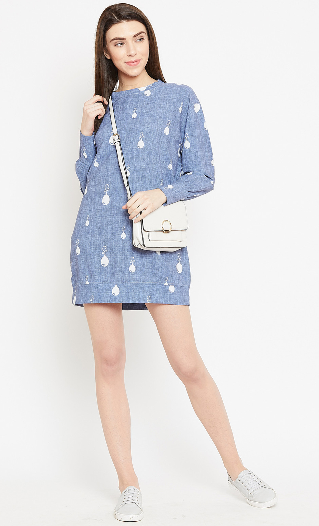 Dusty Blue Balloonie Printed Sweatshirt Dress. Buy Online