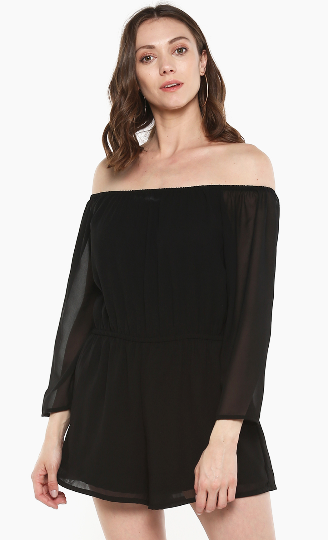 Black Dusk Romance off Shoulder Playsuit. Buy Online
