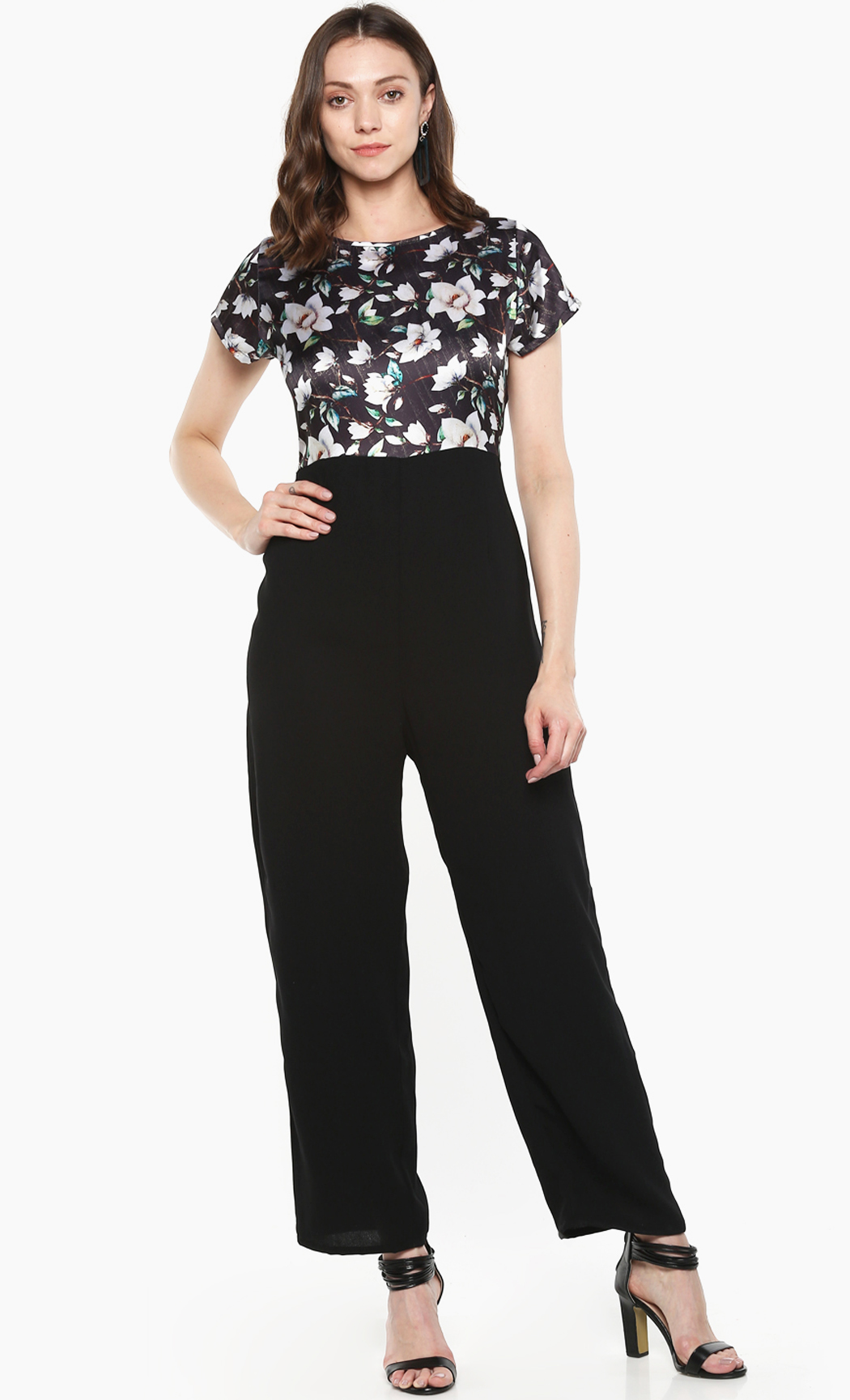 Black Night Light Floral Printed Jumpsuit. Buy Online