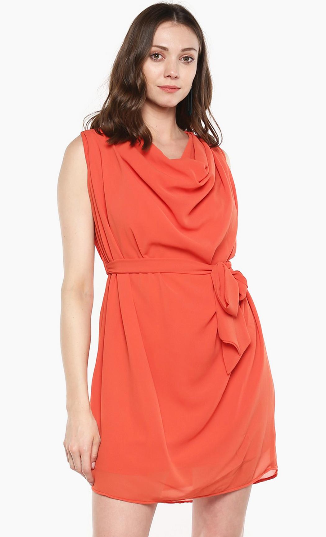 Coral Donut Sprinkles Drape Style Dress. Buy Online