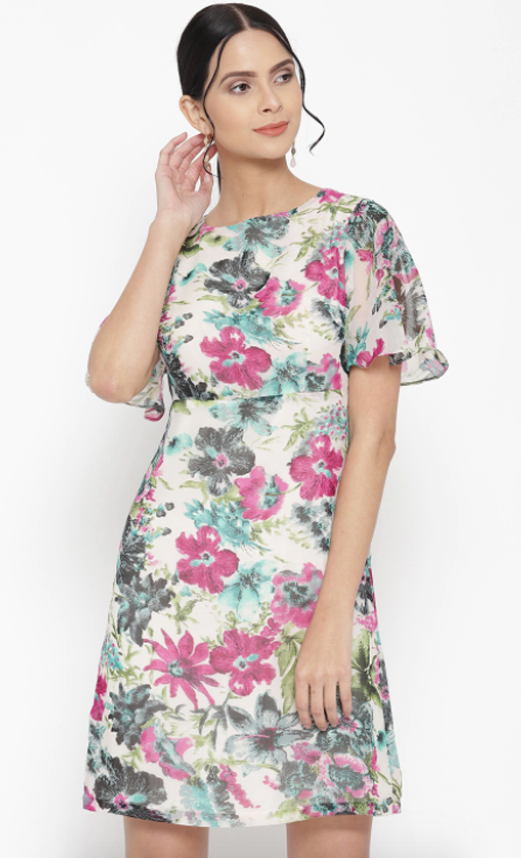 Off-White & Pink Floral Printed A-Line Dress. Buy Online