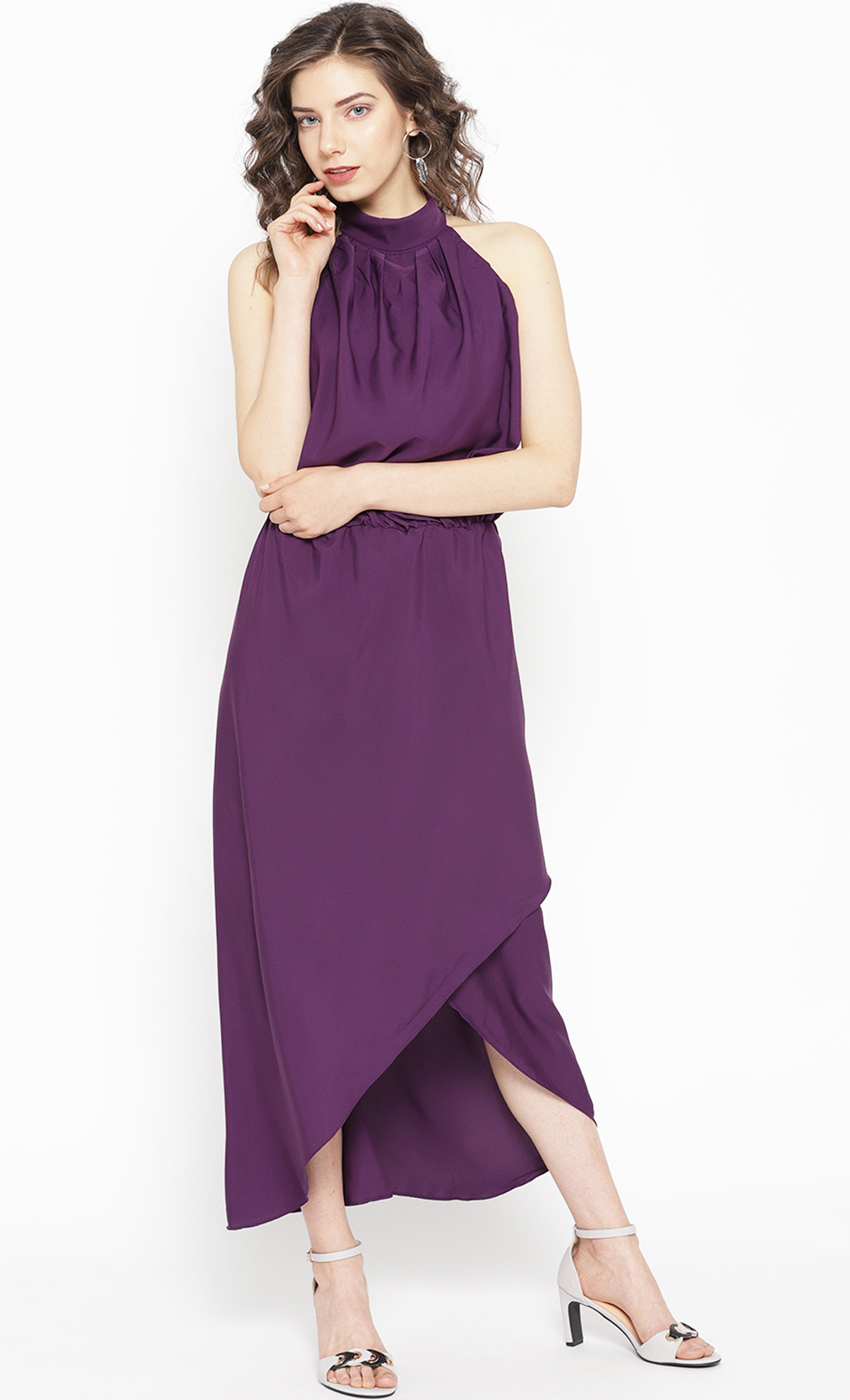 Purple Evening Party Backless Halter Neck Dress. Buy Online