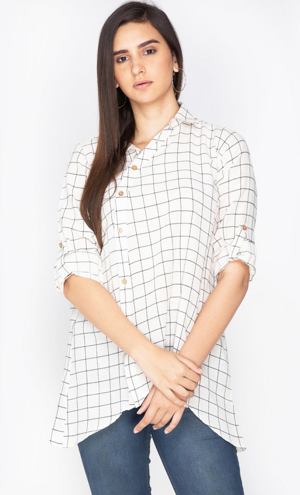 White Dandelion Drama Asymmetrical Shirt. Buy Online