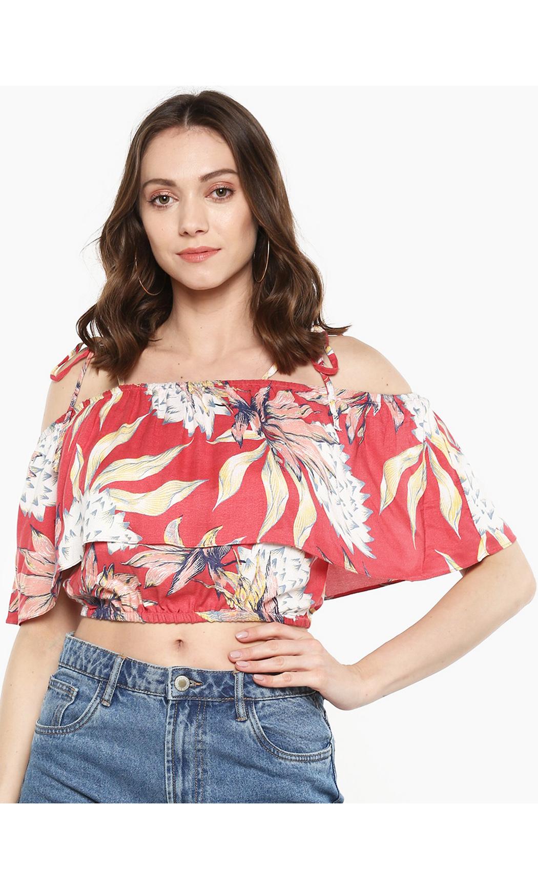 Multicolor Fine Floral Printed Bardot Top. Buy Online