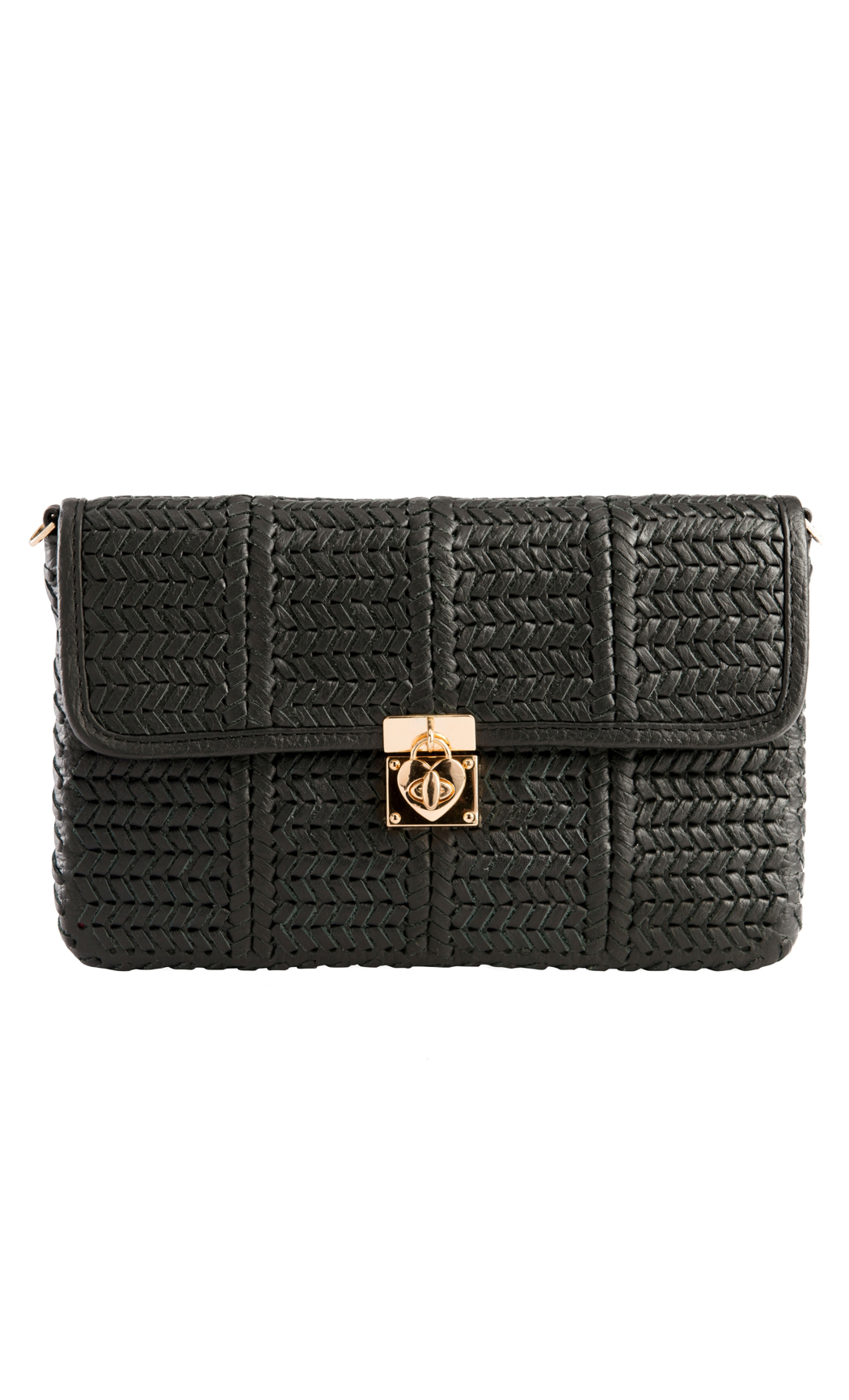 Classic Weave Woven Clutch with Heart Lock in Black. Buy Online
