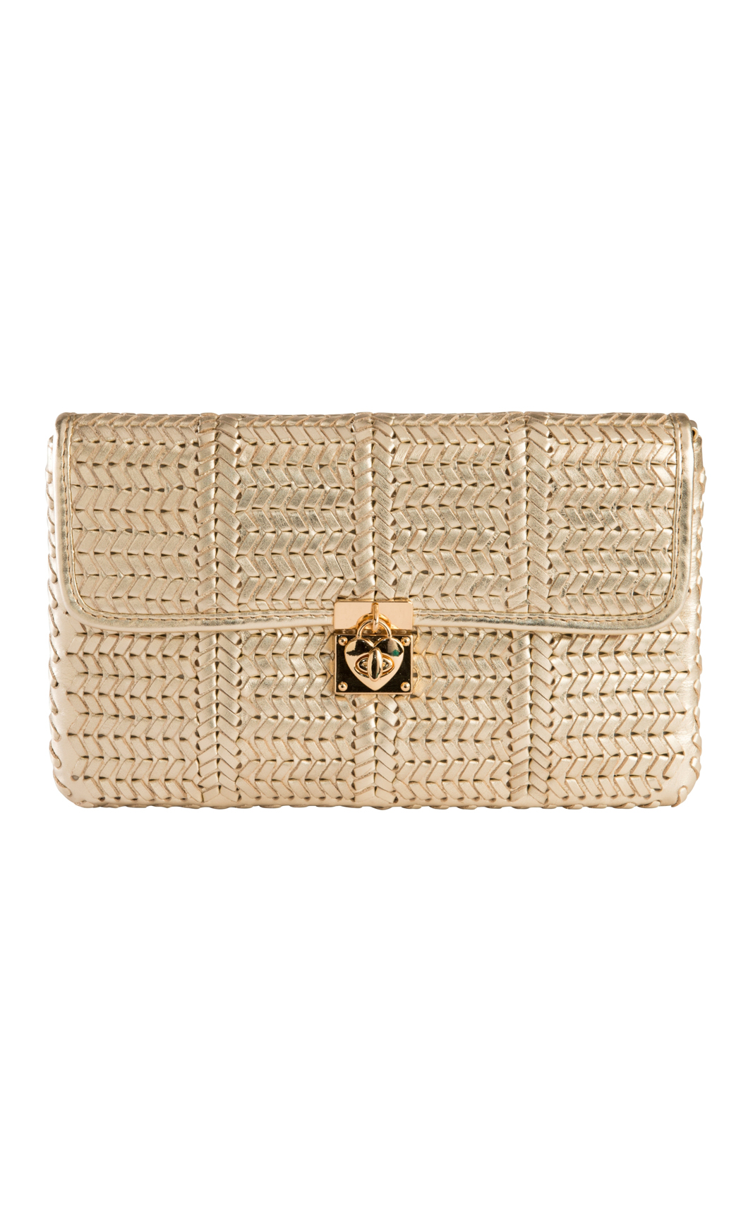 Classic Weave Woven Clutch with Heart Lock in Champagne. Buy Online