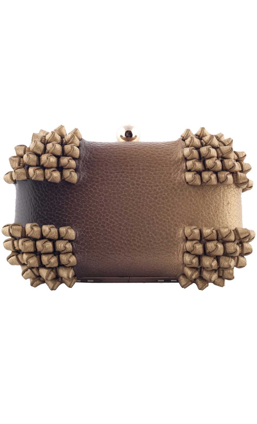 Blend knot Box Clutch in Gold-Brown. Buy Online
