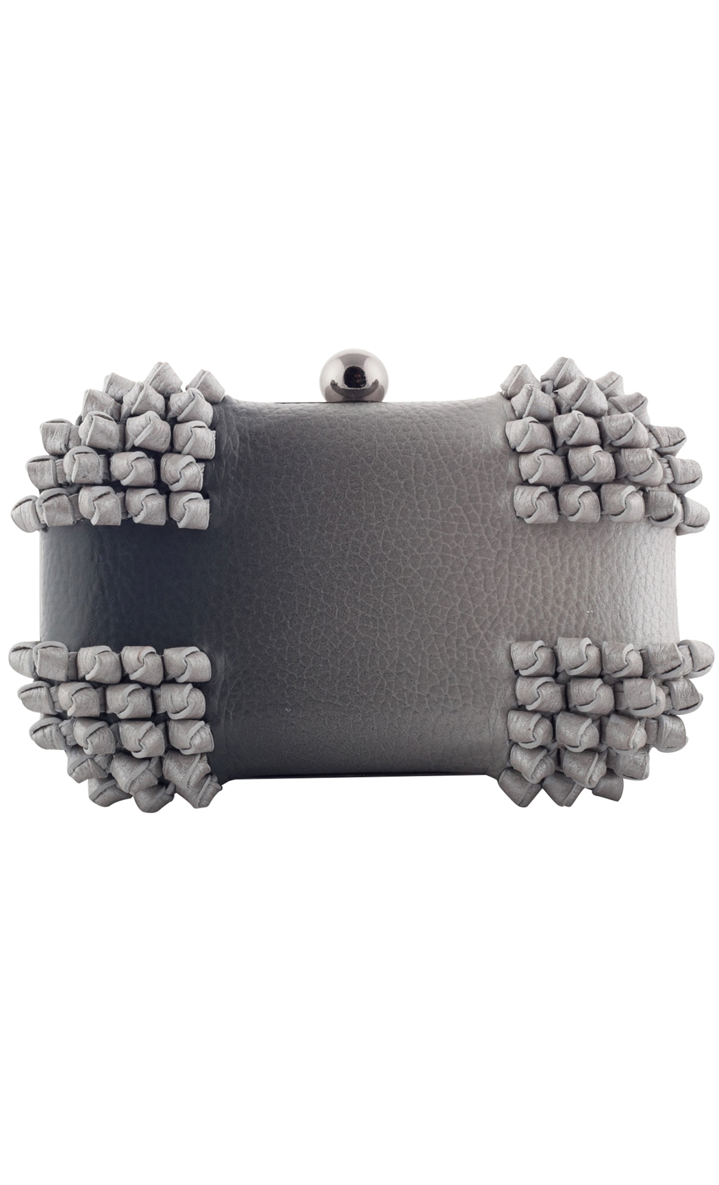Blend Knot Box Clutch in Gray-Silver. Buy Online
