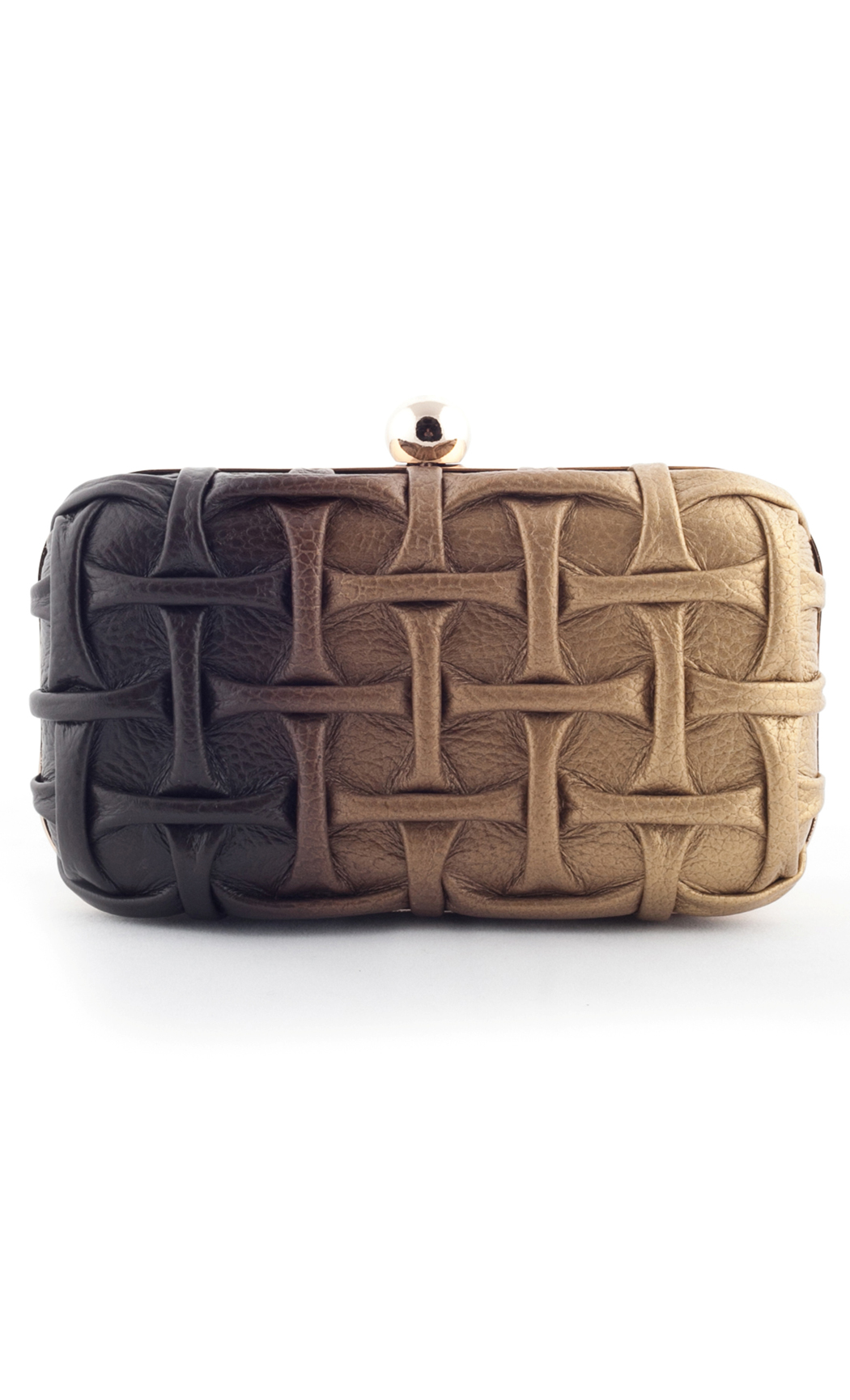 Blend T-Weave Box Clutch in Gold-Brown. Buy Online