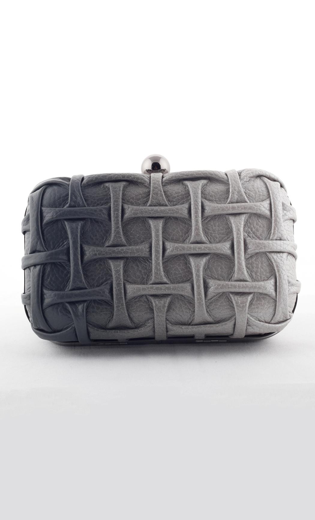 Blend T-Weave Box Clutch in Gray-Silver. Buy Online