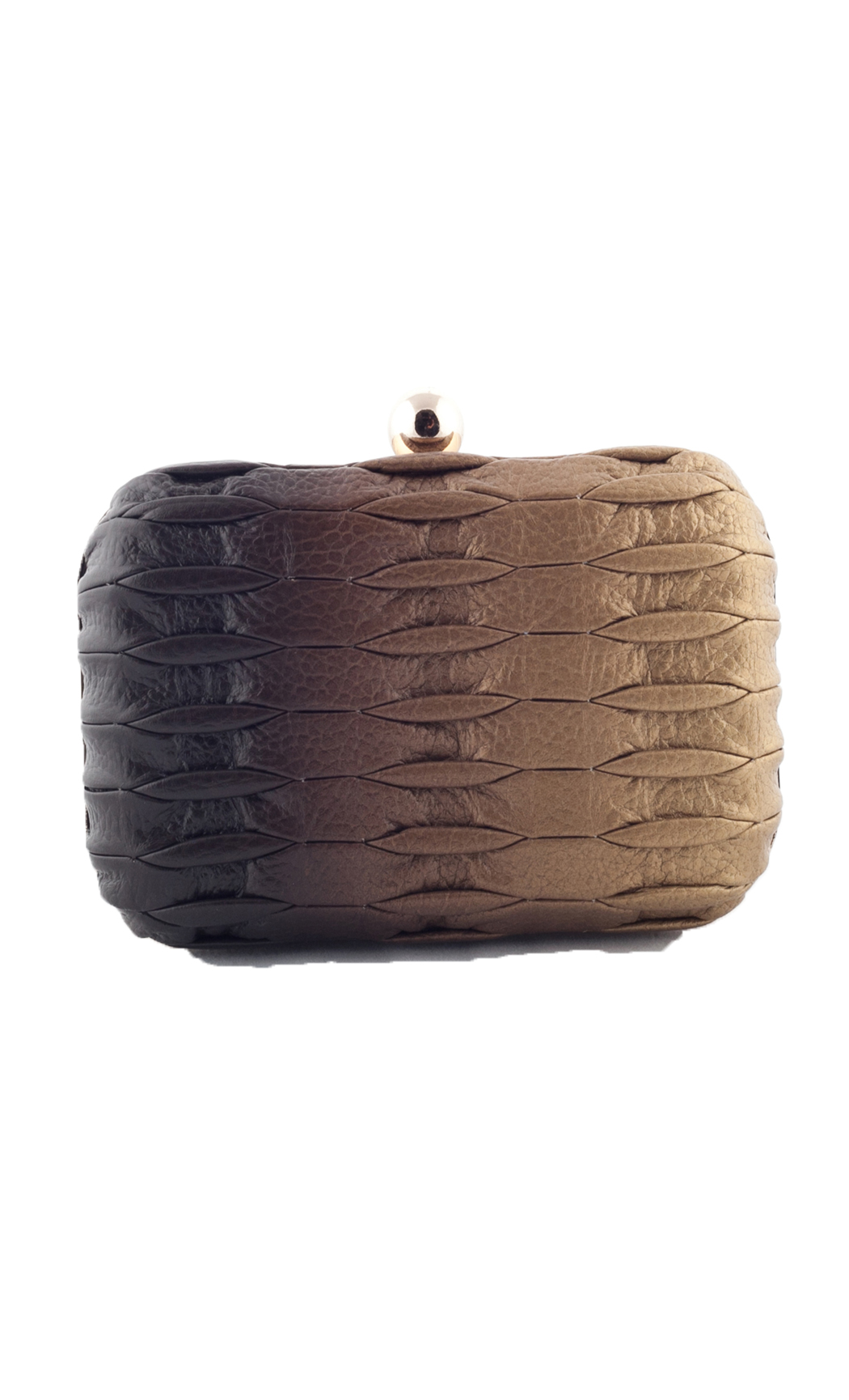Blend Line Weave Box Clutch in Gold-Brown. Buy Online