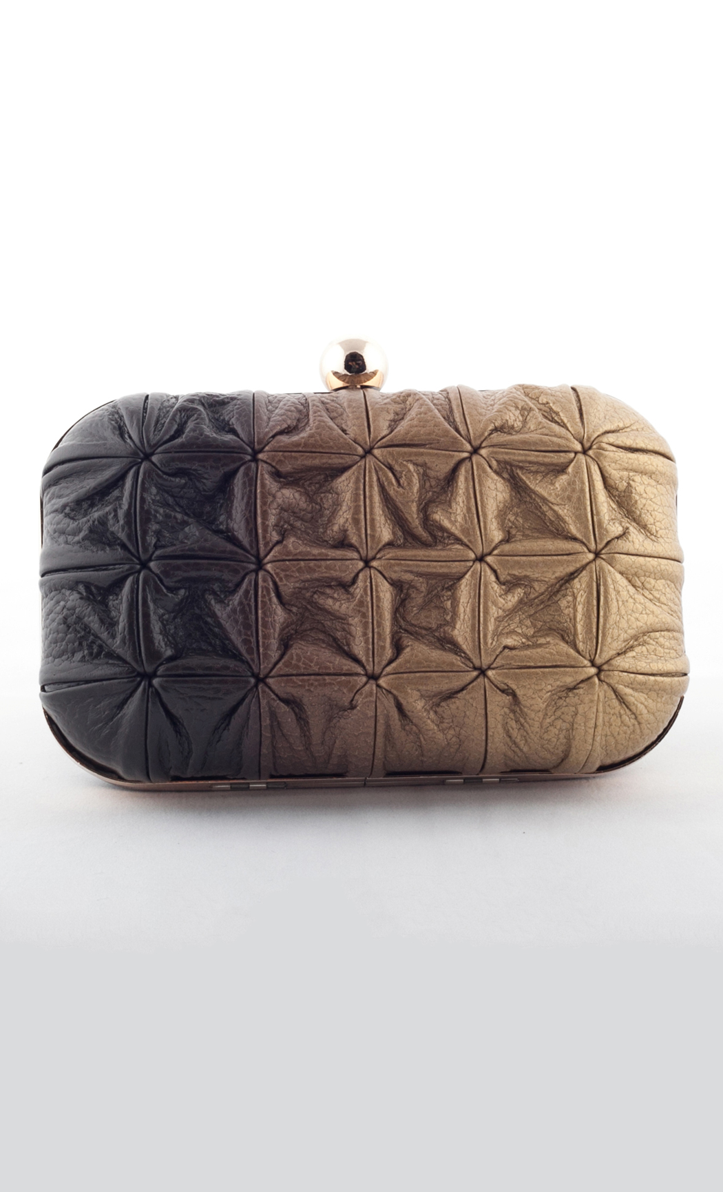 Blend Square Weave Box Clutch in Gold-Brown. Buy Online