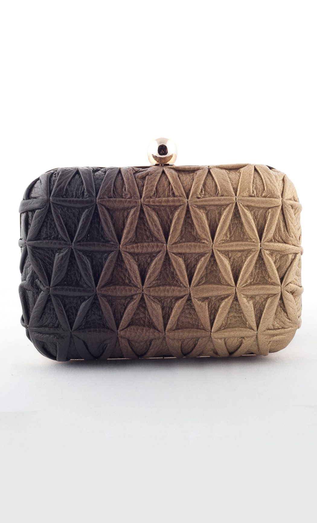 Blend Triangle Weave Box Clutch in Gold-Brown. Buy Online