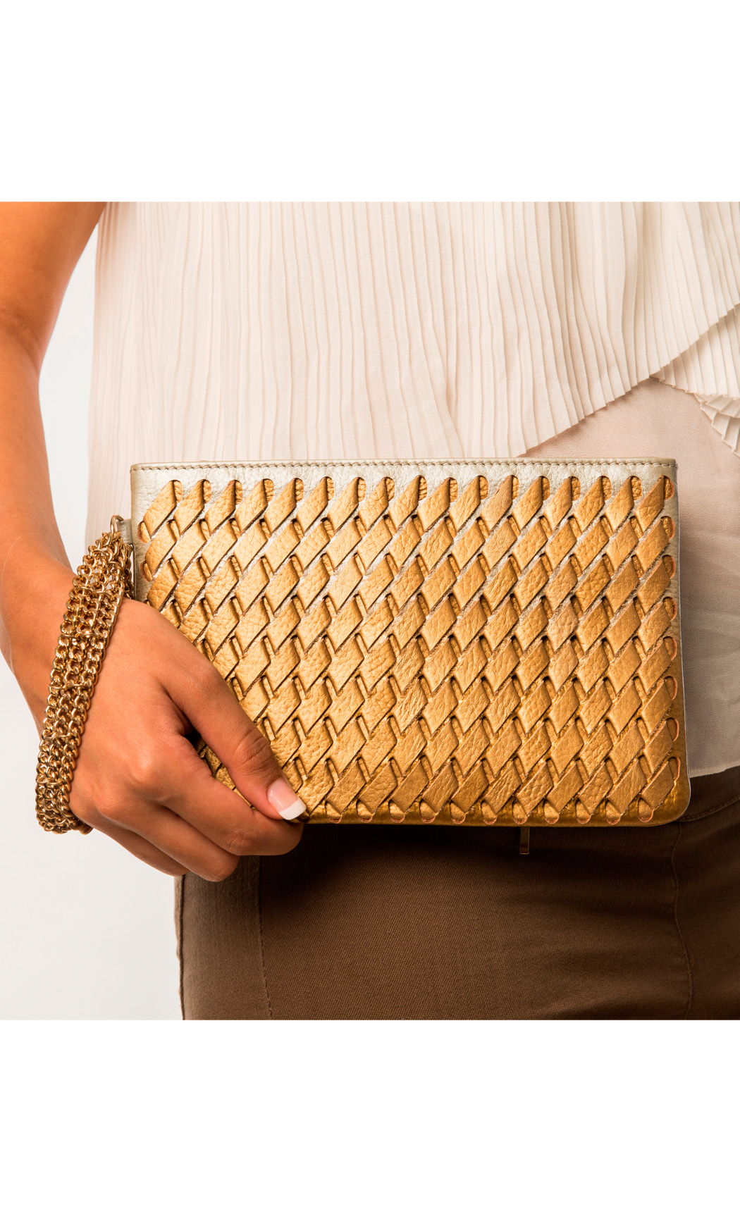 Symphony and Symmetry Long weave Wristlet in Gold-Silver. Buy Online