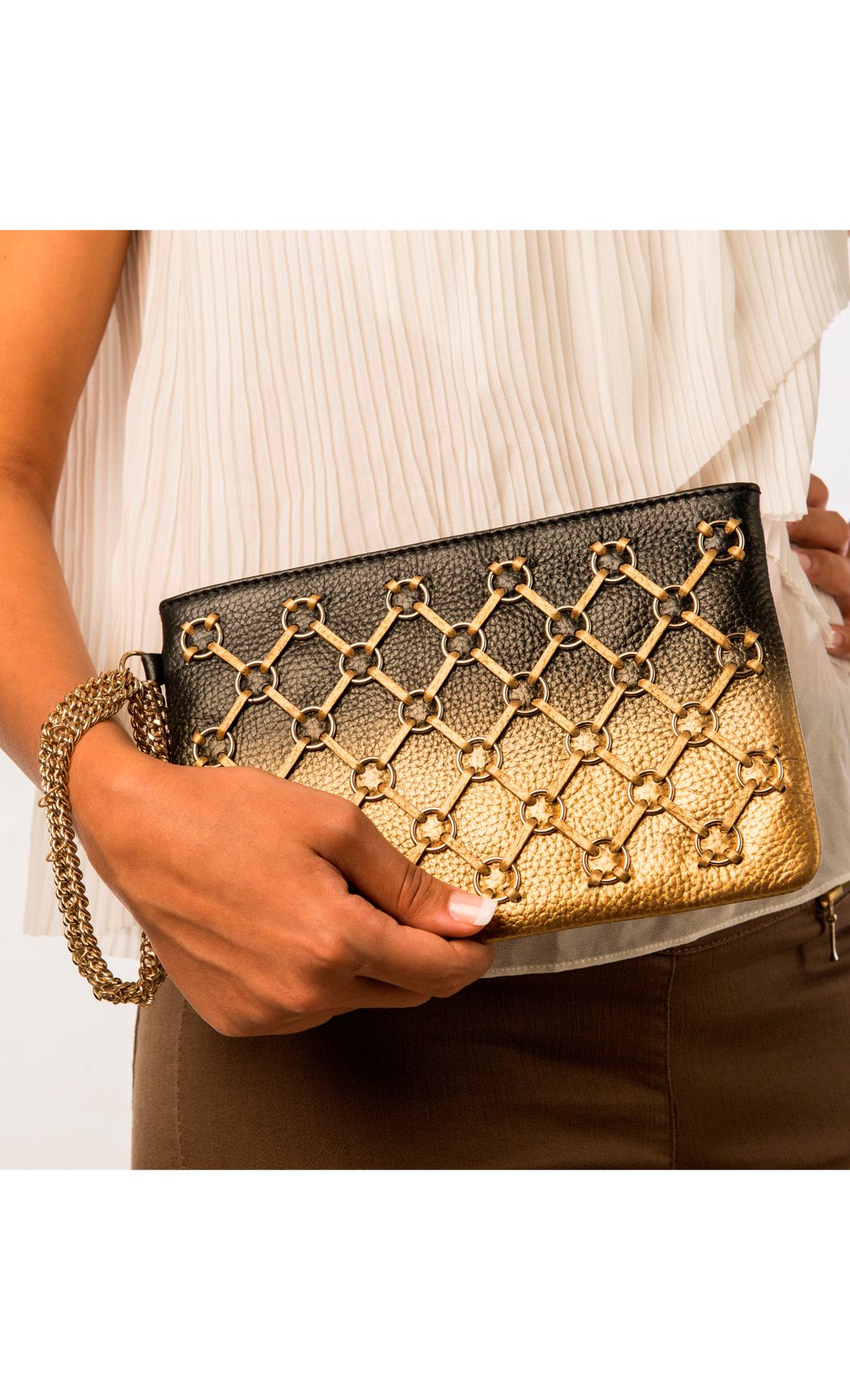 Symphony and Symmetry Ring Wristlet in Gold-Black. Buy Online