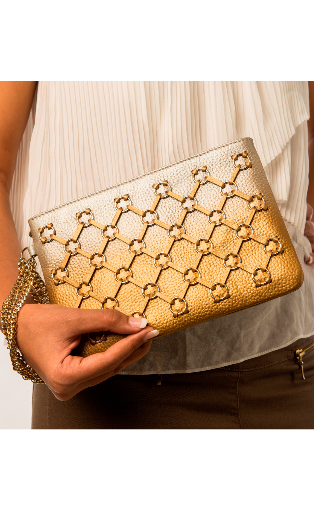 Symphony and Symmetry Ring Wristlet in Gold-Silver. Buy Online