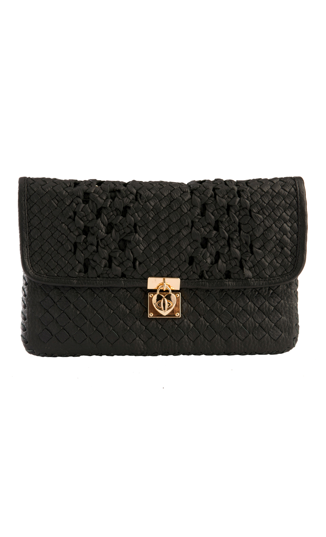 Classic Weave Two Weave Clutch with Heart Lock in Black. Buy Online