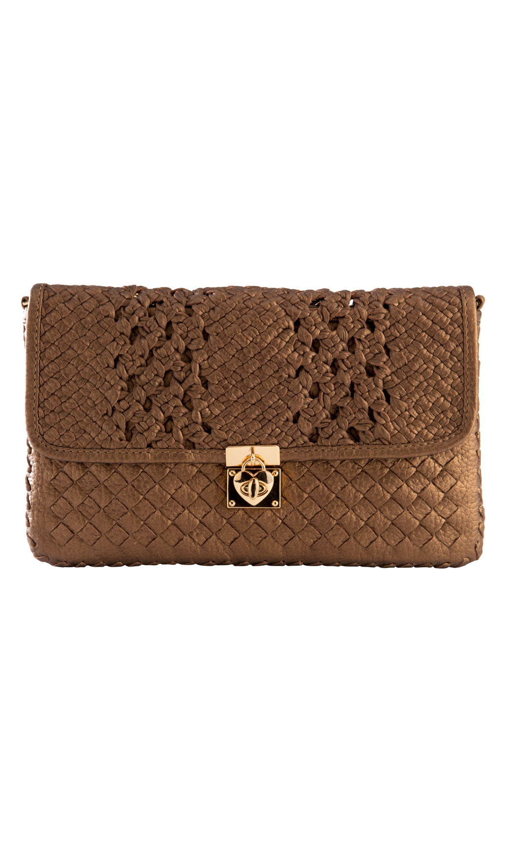 Classic Weave Two Weave Clutch with Heart Lock in Bronze. Buy Online