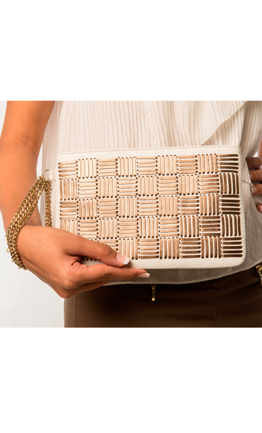 Symphony and Symmetry Two Direction Weave Wristlet in Bronze-White. Buy Online