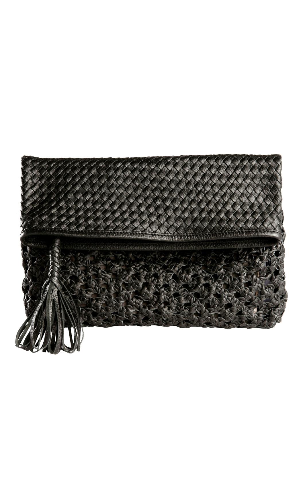 Classic Weave Foldover Clutch in Black. Buy Online
