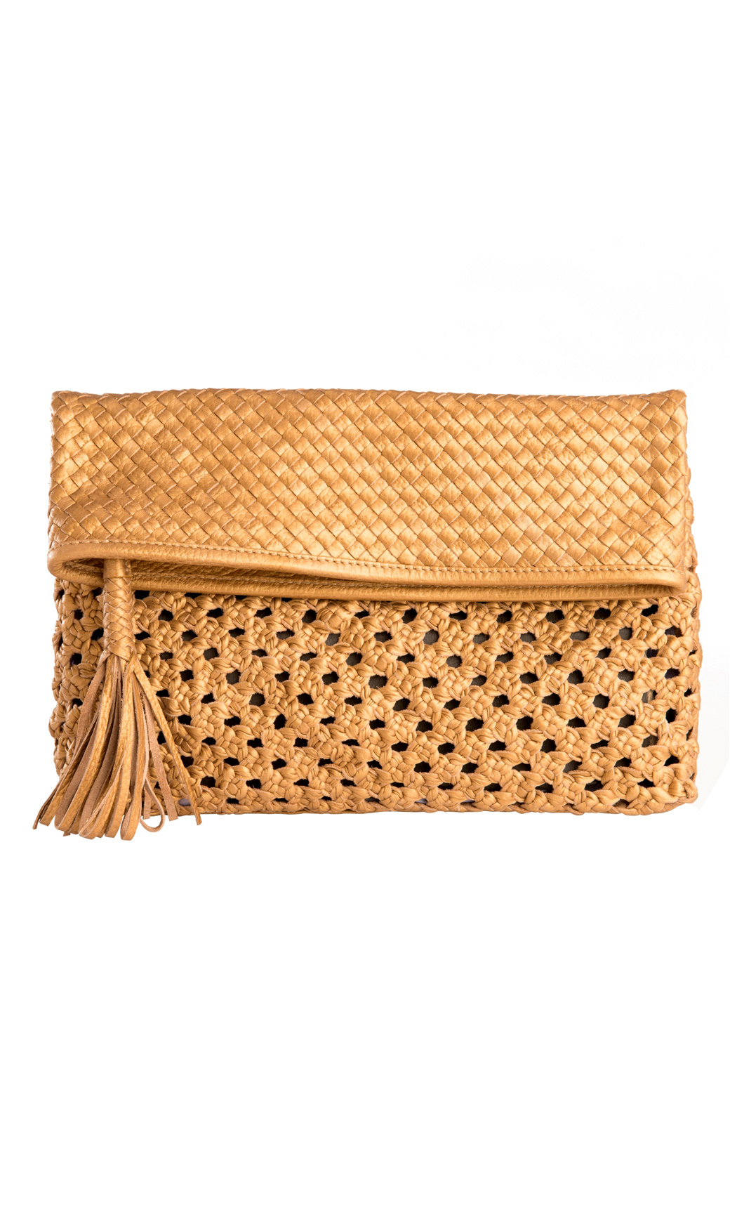 Classic Weave Foldover Clutch in Gold. Buy Online