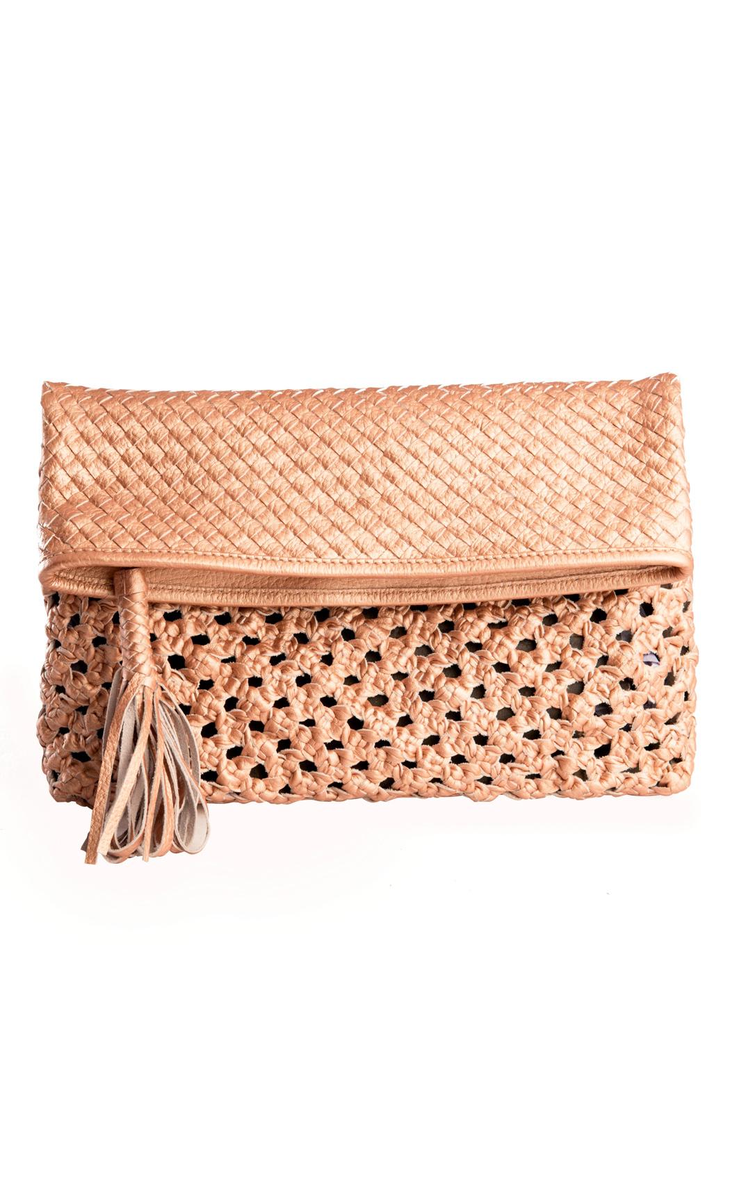 Classic Weave Foldover Clutch in Nude Metallic. Buy Online