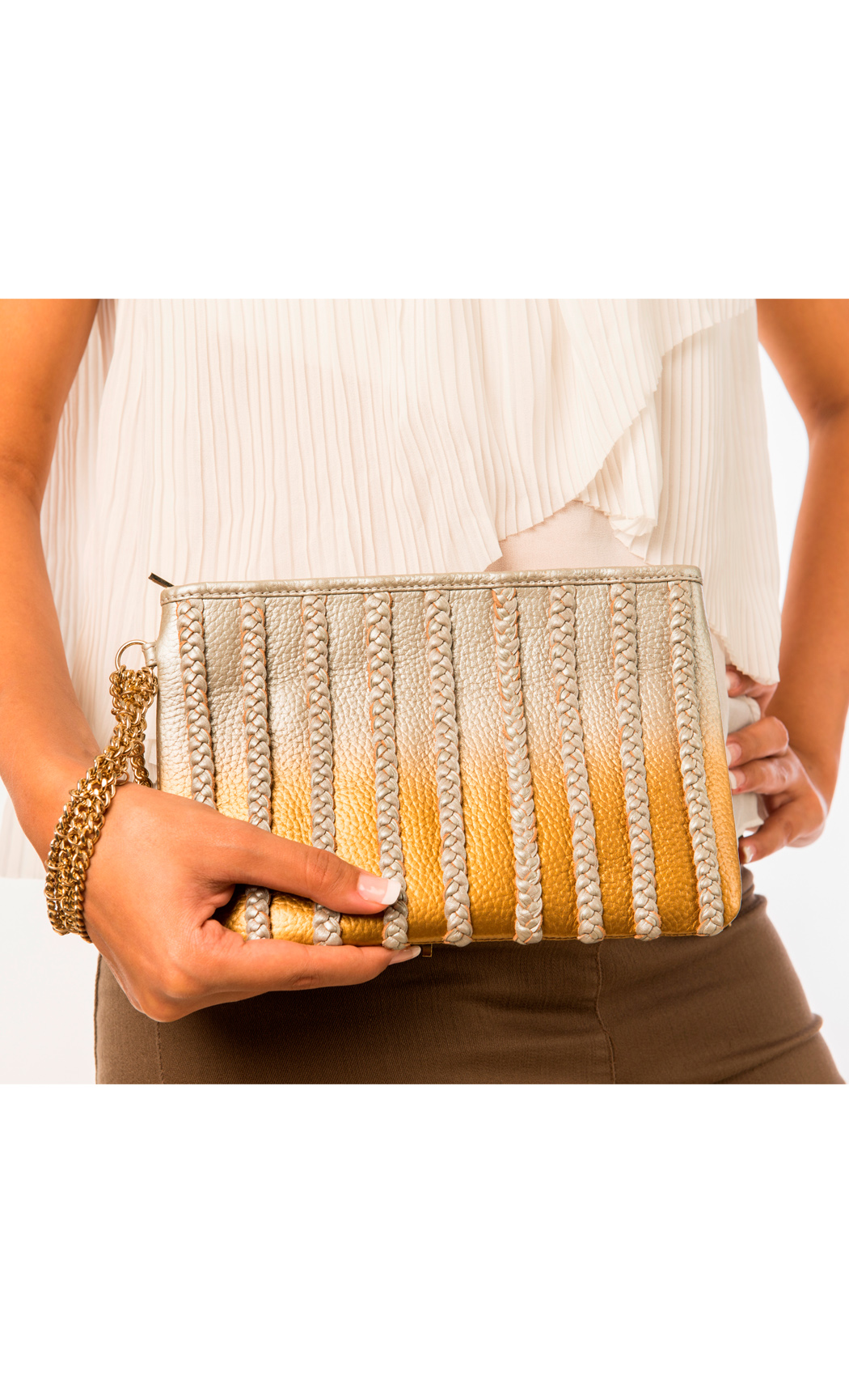 Symphony and Symmetry Plaited Wristlet in Gold-Silver. Buy Online